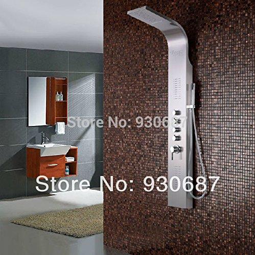 Galvanik Retro Wasserhahn moderne Massage Dusche panel Badezimmer Regendusche Wasserhahn aus rostfreiem Stahl, weiß (Aus Rostfreiem Stahl Dual-bar)