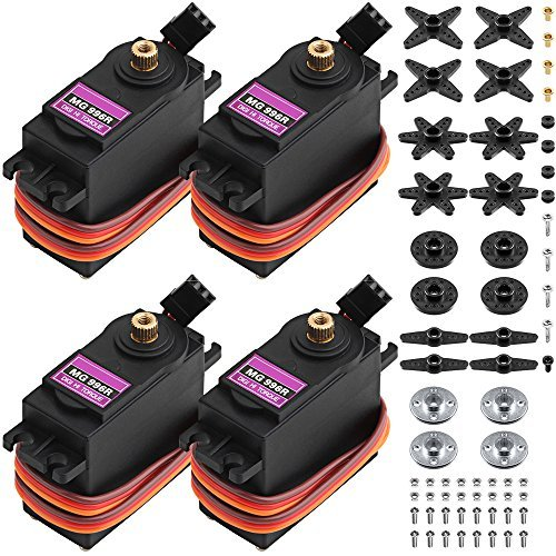 MG996R Metall Zahnrad Drehmoment Digital Servo mit Arm Horn, SENHAI 4 Pack Roboter Servo für Futaba Hitec Sanwa GWS JR RC Hubschrauber Auto Boot Roboter - Digital-arm