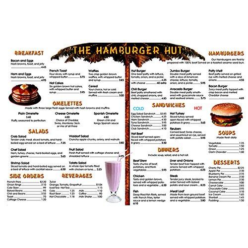 Menu Math Hamburger Hut Extra