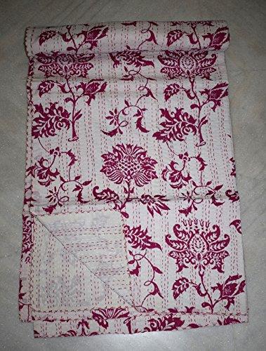 Asian-queen-size-quilt (Tribal asiatischen Textilien Indian Handmade Kantha Quilt Cover Gemüse Dye Queen Size Überwurf Bezug für Hundebett,)