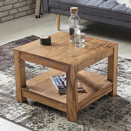 FineBuy Couchtisch Massiv-Holz Akazie 60 x 60 cm Wohnzimmer-Tisch Design dunkel-braun Landhaus-Stil Beistelltisch Natur-Produkt Wohnzimmermöbel Unikat modern Massivholzmöbel Echtholz rechteckig
