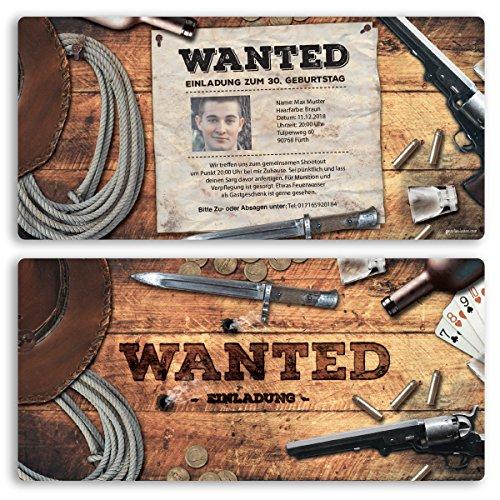 (20 x) Einladungskarten Geburtstag Wanted Western Kopfgeld Einschulung Einladungen