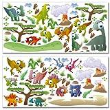 Wandkings Dinosaurier Wandsticker Megapack Set, 90 Aufkleber, Gesamtfläche 260 x 70 cm