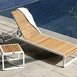 da verrazzano chaise longue et c t table en teck et aluminium jardin. Black Bedroom Furniture Sets. Home Design Ideas