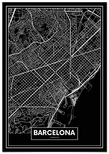 Panorama® Póster Mapa Negro Barcelona