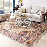 Cosy-L, CS027, tappeto moderno, blu avorio, tradizionale, stile persiano orientale classico, stile floreale, Collezione Treasure, per soggiorno, sala da pranzo, camera da letto, Poliestere, Camel, 140cm*200cm