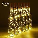 LED Flaschenlicht, 6 Stück 20 LED Flaschenlicht Korken für Party, Garten, Schlafzimmer, Hochzeit, Beleuchtung Deko (warm weiß)