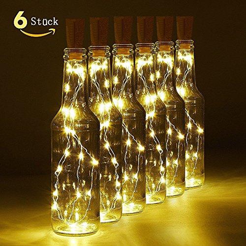 004-licht (LED Flaschenlicht, 6 Stück 20 LED Flaschenlicht Korken für Party, Garten, Schlafzimmer, Hochzeit, Beleuchtung Deko (warm weiß))