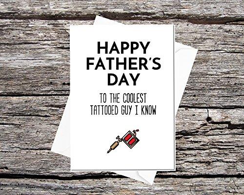 Vatertagskarte - cool - für Papa mit Tattoos #3 Tattoo Gun -