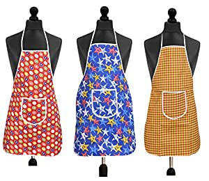Yellow WeavesTM Waterproof Cotton Kitchen Multi Apron with Front Pocket - Set of 3