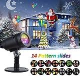 Luces de Proyector Navidad LED con 14 Patrones Diapositivas, Luz de Proyección Paisaje IP65 Impermeable Interior/Exterior, Iluminacion Ambiente Jardín para Fiesta Cumpleaños Año Nuevo Boda