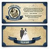 Danksagungskarten (20 Stück) - Vintage Brautpaar in Blau - Retro Dankeskarten