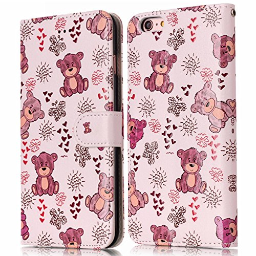 Custodia iPhone 6 - Cover iPhone 6S - ISAKEN Accessories Cover in PU Pelle Portafoglio Custodia, Elegante Sollievo Pattern Design in Sintetica Ecopelle Libro Bookstyle Wallet Flip Portafoglio Case Cov Orso carino