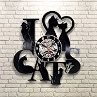OOFAY Clock@ Wanduhr Vinyl Schallplattenuhr Familien Dekoration 3D Mode Europäische Epidemie 7 Kleine Schwarze Katzen Design-Uhr Wand-Deko/Durchmesser 30 Cm