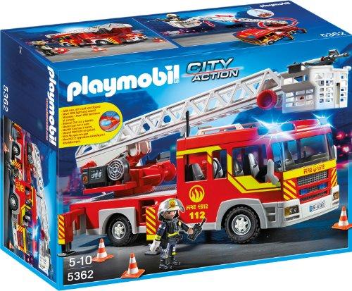 feuerwehrauto PLAYMOBIL 5362 - Feuerwehr-Leiterfahrzeug mit Licht und Sound