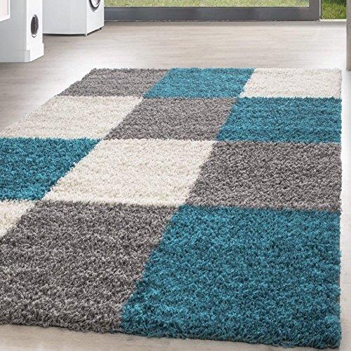 Homebyhome tappeto shaggy, pelo lungo, motivo a quadri, misura grande, polipropilene, turchese, 80 x 150 cm