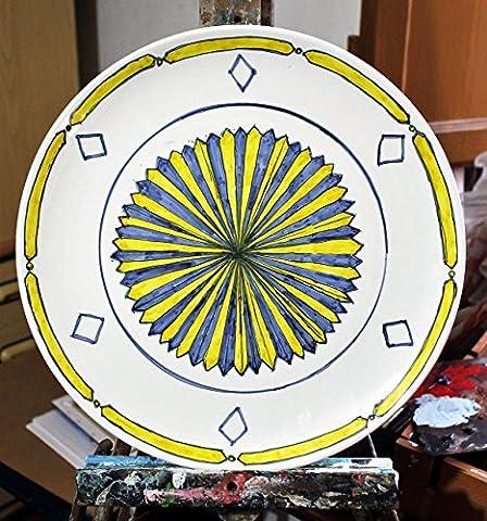 Platte mit geometrischem Design-künstlerische italienische,Durchmesser cm 35 hoch cm 2,7 -Made In Italien, Toskana, Lucca.
