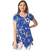 Roman Originals - Camiseta de manga corta con estampado floral y estampado de flores con estampado de flores de manga corta y
