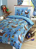 Pirate Blue Junior Toddler Bed Size Duvet Cover & Pillowcase Set