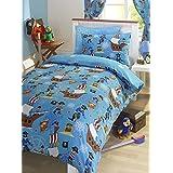 Pirate Blue Junior Toddler Bed Size Duvet Cover & Pillowcase Set by Bedmaker