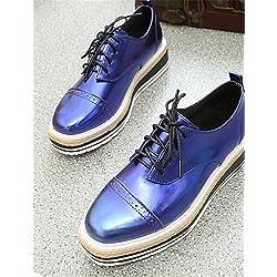 NJX/ hug Scarpe Donna-Sneakers alla moda-Tempo libero / Casual-Creepers-Plateau-Finta pelle-Nero / Blu / Argento , blue-us6 / eu36 / uk4 / cn36 , blue-us6 / eu36 / uk4 / cn36