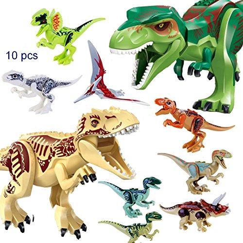 JZK 2 Gros tyrannosaure dinosaure & 8 petits blocs de dinosaure jouet mobile mini figurines jouets pour les enfants faveurs de fête remplisseurs (réussi le test de sécurité des jouets EN71)
