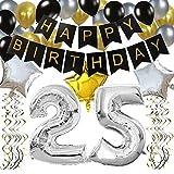 KUNGYO Classy 25. Geburtstag Party Dekorationen Kit-Rose Gold Happy Birthday Banner-Riesen Zahl 60 und Sterne Helium Folienballons, Bänder, Papier Pom Blumen