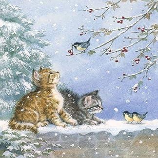 4 servilletas de papel para decoupage – 3 capas, 33 x 33 cm – Navidad – ver pájaros (4 servilletas individuales para manualidades y arte de servilletas)