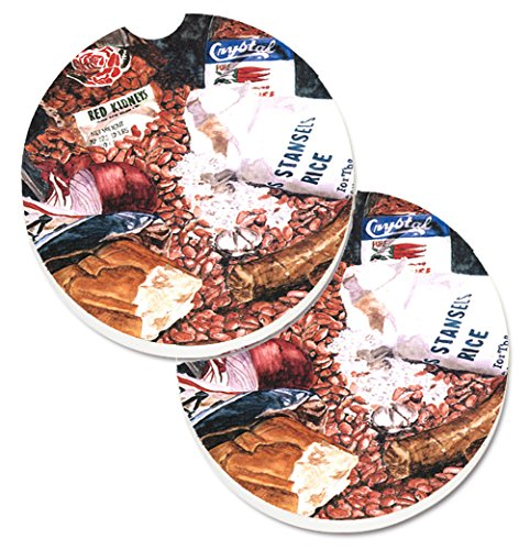 Caroline's Treasures Red Beans & Rice Set of 2 Cup Holder Car Coasters 8536CARC, 2.56, Multicolor