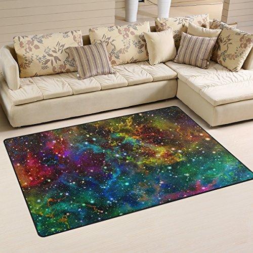 Naanle Universe Nebula Nuit Ciel étoilé antidérapant Zone Tapis pour salon salle de salle à manger Chambre à coucher de cuisine, 50 x 80 cm (1.7 'x 2.6' ft), Abstrait coloré Chambre d'enfant Tapis de sol Tapis Tapis de yoga, multicolore, 100 x 150 cm(3' x 5')