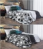 Tagesdecke Elle 220x240 cm stahl schwarz zweiseitig Bettüberwurf Decke Wohndecke Streifen hautfreundlich pflegeleicht zweiseitig