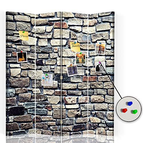 Feeby Foto Biombo Corcho Muro Piedras 4 Paneles Bilateral Abstracto Marrón 145x175 cm