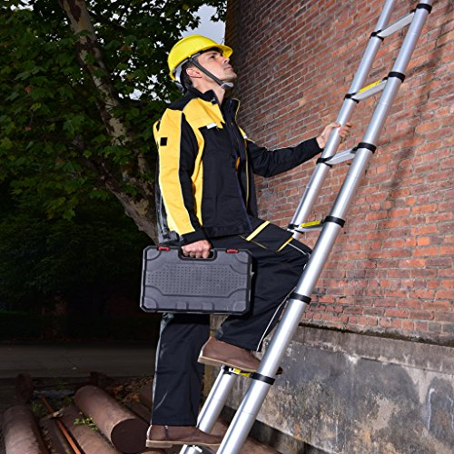 The ladder is easy to extend and retract, whilst being collapsible to a compact 86cm structure for easy transportation and storage. It is the right match for DIY projects involving a lot of traveling. The lightweight aluminium alloy construction gives it easy portability, rust protection, and durability.