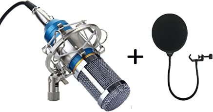 Brain Freezer J BM 800 Silica Gel Professional Condenser Microphone with Metal Shock Mount (Blue) and Pop Fillter