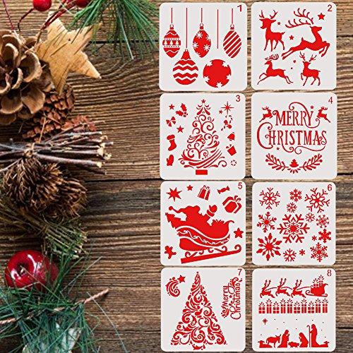 Set von 8Schablonen der Party-Weihnachten in anderen Typ der Baum und der alphabet Weihnachten Wiederverwendbare geeignet für die Papier-Schaffung/Scrapbooking/decorazini der Party und Wände/Die Malerei/Materialien für Basteln und für Hobby kreative gutes Geschenk für Familie Studenten Kinder Kinder