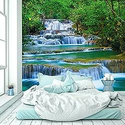 livingdecoration Papier Peint Chute d'eau 274,5 x 254 cm Jungle Cascade Forêt Rivière Thaïlande Asie Photo Mural Tableaux Muraux Déco Colle y Compris