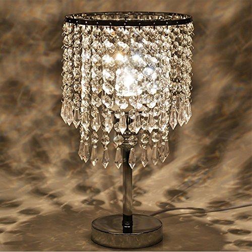 Tischleuchte, T-MIX luxuriöse Kristall-Lampenschirm Edelstahl Fassungen stilvolle Schönheit in den Schlafzimmer Wohnzimmer platziert - 6