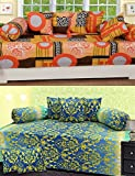 #5: casadcor 100% Cotton Set of 2 Abstract Diwan set set of 16 pcs (2 single bedsheet , 4 booster cover , 10 cusion cover) , multicolour traditional look