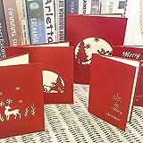 Carte de Vœux Noël 3d Carte Anniversaire Enfant Carte Cadeau Pop-Up Presentoir Carte Postale Classeur Carte de Remerciement - Parfait pour Fête Soirée - 5pcs Multis-Motifs