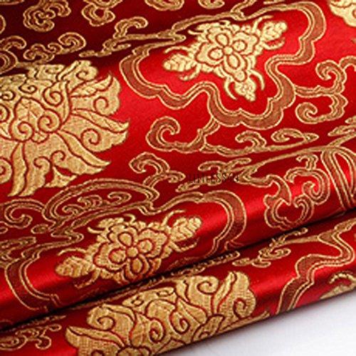 Youmu, Brokatstoff mit chinesischer Blumen-Stickerei, seidiger Satin-Stoff, 1 m, in 10 Farben rot -
