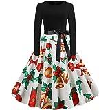 Donna Vestiti di Natale Lunga Maniche Abito Natale Vestito da Donna Stampa Natale Midi Abito Elegante Vintage Abiti da Santa