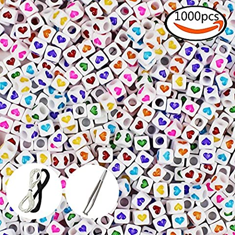 JPSOR 1000pcs 6x6mm Mixed Acrylic White Heart Beads with Colorful Hearts, with 1 Pair of Tweezers, 1 Black and 1 White Cord for Jewelry Making Kids DIY Necklace
