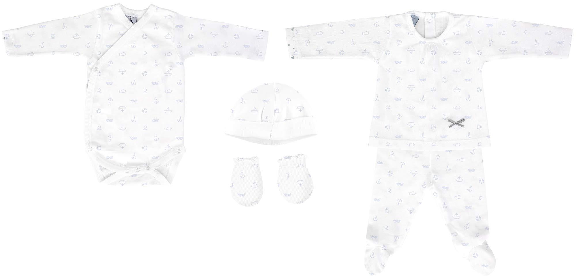 BABIDU 535 Pack Nacim Anclas Conjuntos de Pijama, Azul (Marino 001), 56 (Tamaño del Fabricante:1) Unisex bebé 1