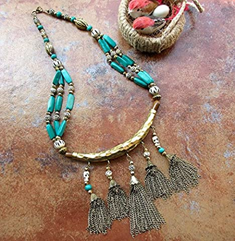 Oxidized Gold Chains Tassel Necklace with Turquoise Blue Beads/Beaded Necklace/Boho Style Tassel Necklace P56