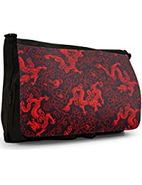 Chinese Dragons Large Messenger Black Canvas Shoulder Bag - School / Laptop Bag