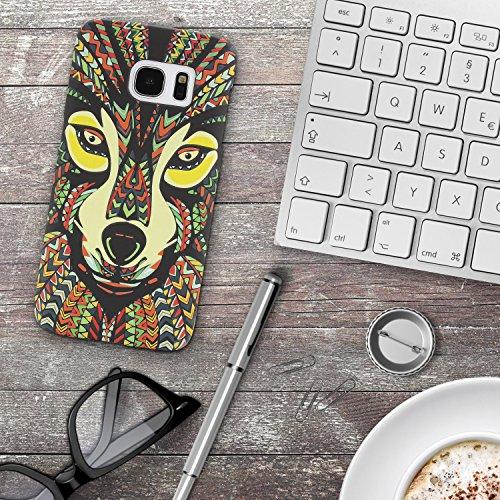 URCOVER Coque Tribal avec Dessin d' Animaux   Cover Apple iPhone 7 Plus   Back Case Rigide et Fin   Colorful Loup   Housse Motif Colorée Fantaisie Multicolore Colorful Loup