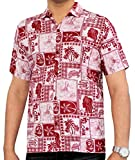 La Leela Männer Hawaiian Hemd Kurzarm Button Down Kragen Fronttasche Beach Strand Hemd Herrenhemd Urlaub Casual Herren Aloha Rot_529 4XL Baumwolle UT_8895