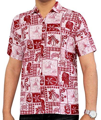 LA LEELA Strand Hawaiihemd Herren XS - 5XL Kurzarm Front-Tasche Hawaii-Print Casual Button Down Hemd Rot Rot