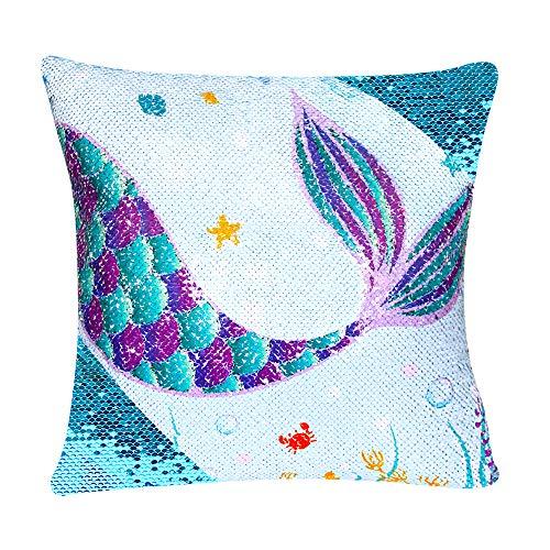 WERNNSAI Fundas de Almohada de Sirena de Lentejuelas - 40 x 40cm Fundas de Cojín Azul Throw Pillow...