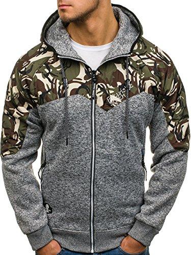 BOLF Herren Kapuzenpullover mit Reißverschluss Baumwollmischung Sweatjacke Hoodie 1A1 Grau_HH502